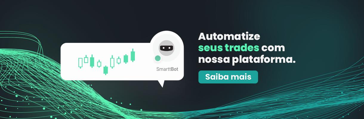 imagem: automatize seus trades com nossa plataforma - mascote botinho smarttbot e imagens de candles em um balão de fala